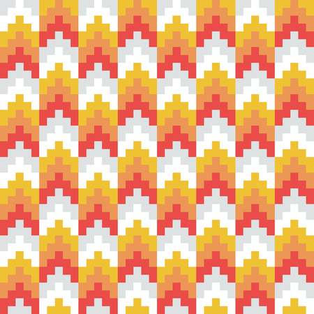 Seamless vector, abstract, red, orange, retro, pixel arrow pattern