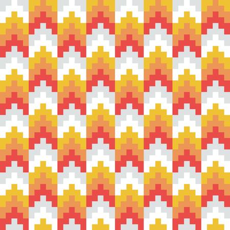 Seamless vector, abstract, red, orange, retro, pixel arrow pattern