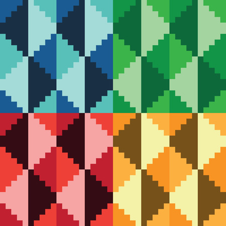 Four seamless abstract geomatrical pixel diamond patterns