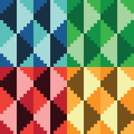 Four seamless abstract geomatrical pixel diamond patterns
