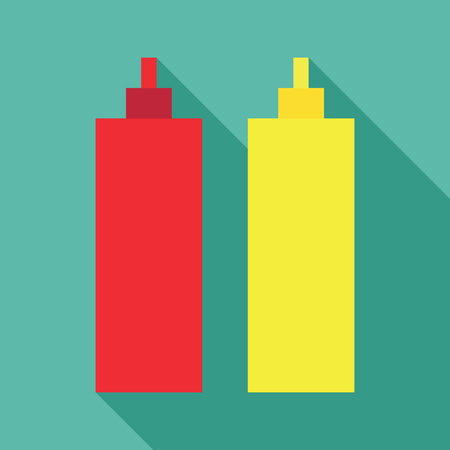 Ketchup mustard dynamic duo pixelated flat design icon Illustration