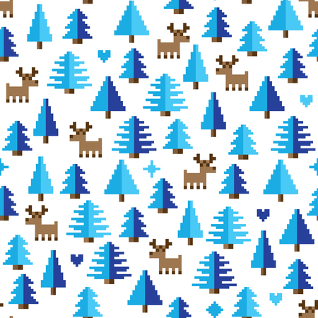 Colorful Pixel Pattern with winter wonderland Elements Illustration
