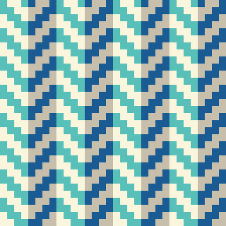 Seamless abstract blue geometric pixel arrow pattern in vector