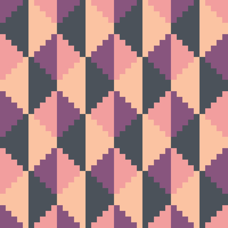 Seamless abstract geomatric pixel pink diamond pattern Illustration