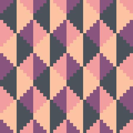 Seamless abstract geomatric pixel pink diamond pattern Illustration