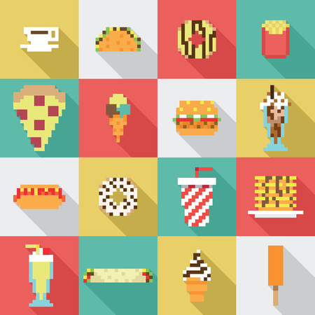 Seamless collection, pixel, vintage, diner food pattern in vector Illustration