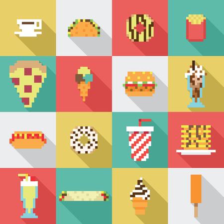 Seamless collection, pixel, vintage, diner food pattern in vector Illustration