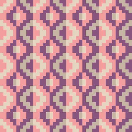 Seamless pink abstract pixel pattern geomatric Illustration