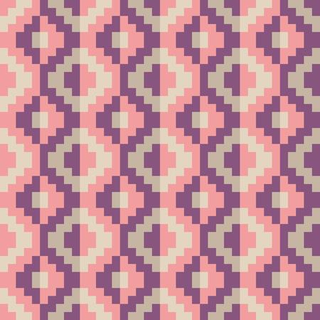 Seamless pink abstract pixel pattern geomatric Illustration