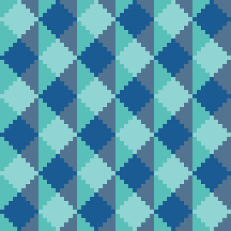 Seamless abstract geomatric pixel blue diamond pattern Illustration