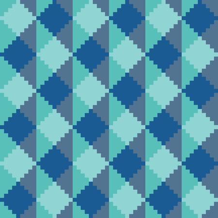 Seamless abstract geomatric pixel blue diamond pattern Illustration