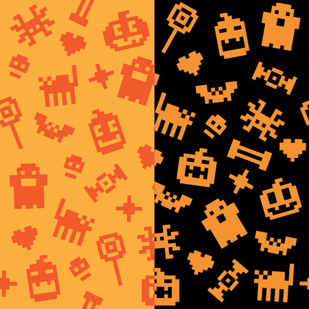 Two Halloween festive seamless retro pixel patterns in vector