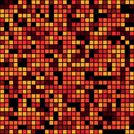 Seamless red pixel mosaic background, vector illustration