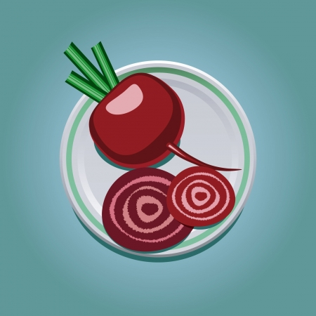 vector illustration of purple beetroot with slices on a plate