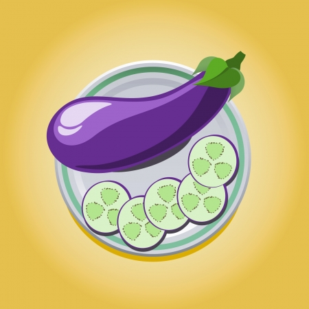 vector illustration of eggplant on a plate with slices Illustration