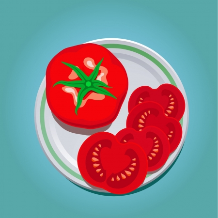 vector illustration of tomato on a plate with slices