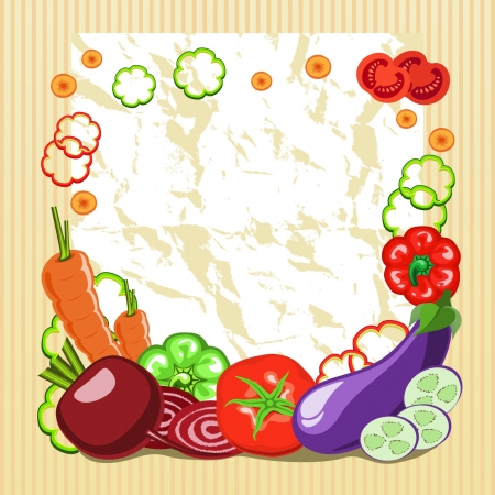 preparing: frame of vegetables with a piece of paper