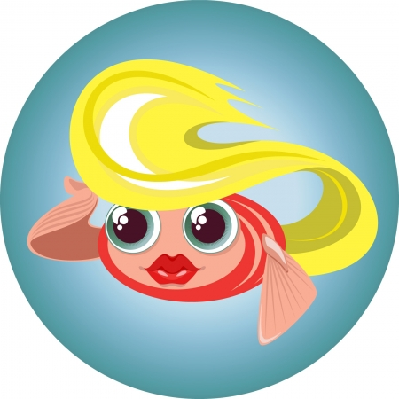 nature one painted: illustration of a cute blonde little fish in a circle