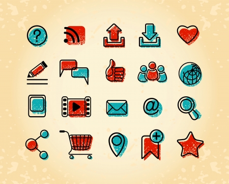 idea icon: Set of 20 Internet communication icons in retro and grunge style