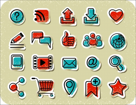 Set of 20 Internet communication stickers in retro and grunge style