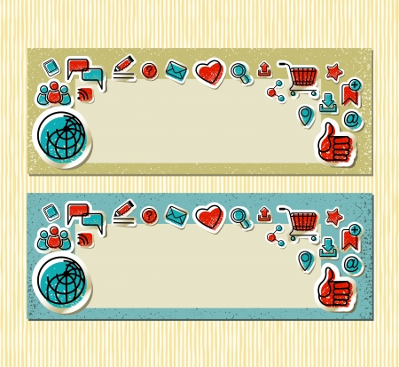 Set of banners with communication stickers in retro and grunge style  Vector