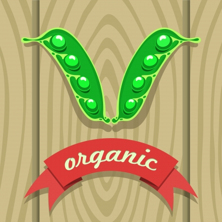 vector illustration of a pea pod on wooden boards with a red ribbon labeling Иллюстрация