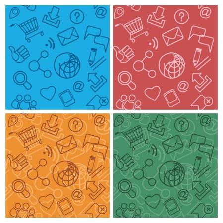 Set of multicolor Internet Community Patterns Stock Vector - 20271813