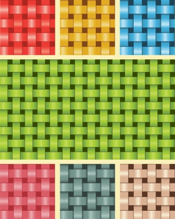 Set of Seamless Fiber Weave Textures Multicolour Vector