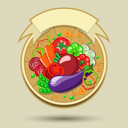 out of use: Sticker with various vegetables and slices spread out on a wooden board  All shadows are made without the use of transparencies