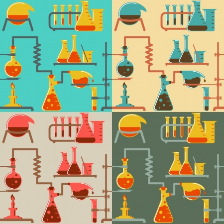 chemical reactions: Seamless pattern of chemical reactions in four color variations in retro style  The pattern is cut into the edge without using the clipping mask Illustration