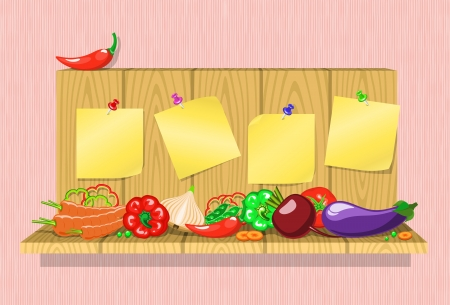 fresh vegetables on a wooden shelf with stickers on pins  , transparency were not used
