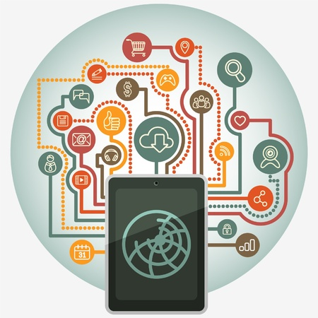 circular background with a tablet connected to the internet and web surfing signs in retro colors