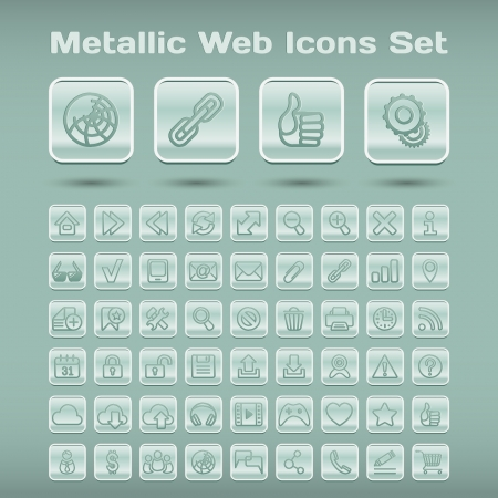 Set of 55 metallic icons for web browsing, media and communication Vector