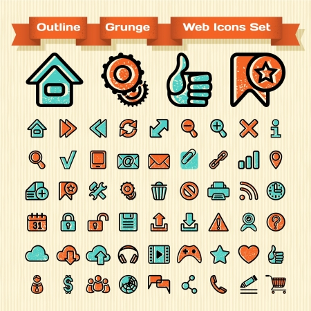 Set of 54 outline web Icons for web browsing, media and communication in a grunge effect