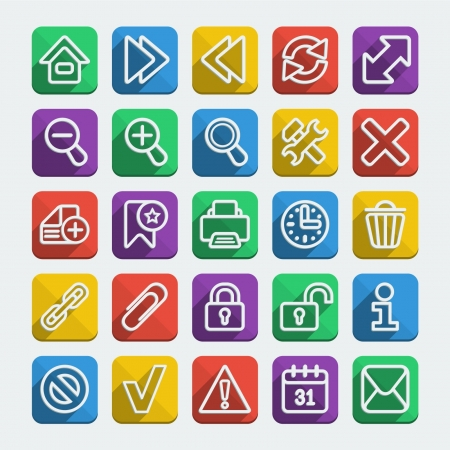 Set of 25 long shadows flat icons for web browsing in different colors Illustration