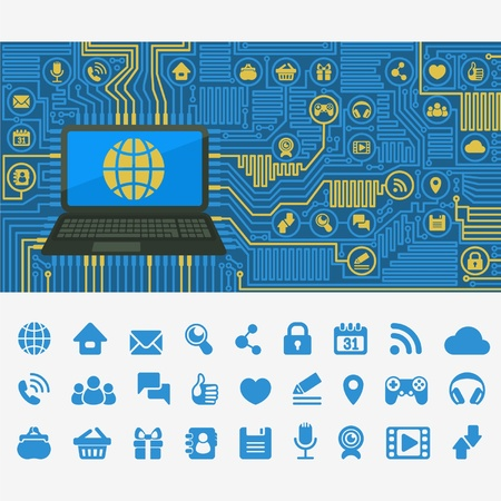 develop: concept of web interaction in the form of computer board with a laptop and web icons Illustration