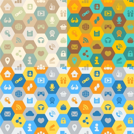 Seamless pattern in the form of cells with icons of Internet communications in three color solutions  pale retro, rich retro and bright flat colors  All variants on different layers Vector