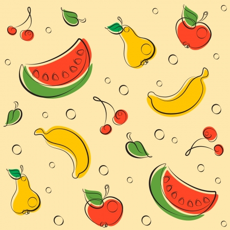 Pattern of cheerful fruits drawn by elegant lines in retro colors Vector