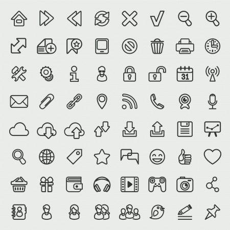 Set of 64 outline icons suitable for web browsing and social media communication  Clearly layered and fully editable Illustration
