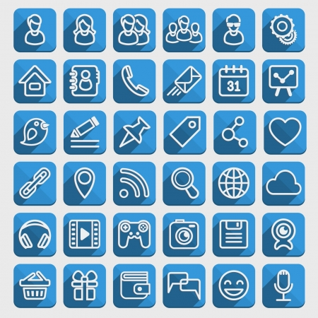 Set of 40 blue web icons of social communication in the long shadows flat style  Clearly layered and fully editable
