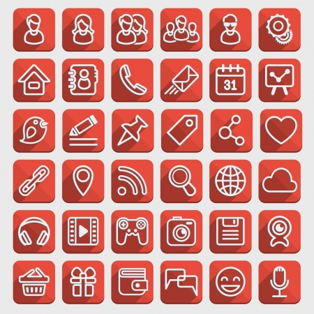 Set of 40 red web icons of social communication in the long shadows flat style  Clearly layered and fully editable