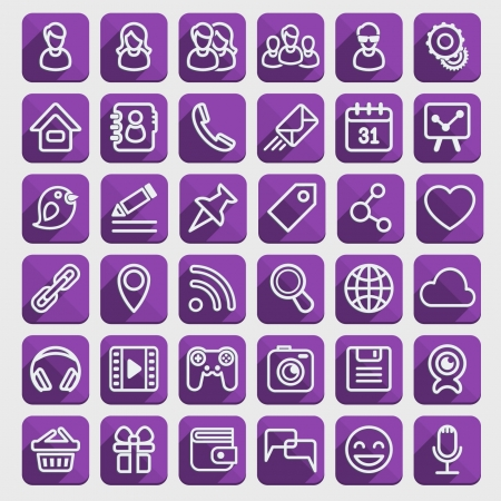home button: Set of 40 purple web icons of social communication in the long shadows flat style  Clearly layered and fully editable   Illustration