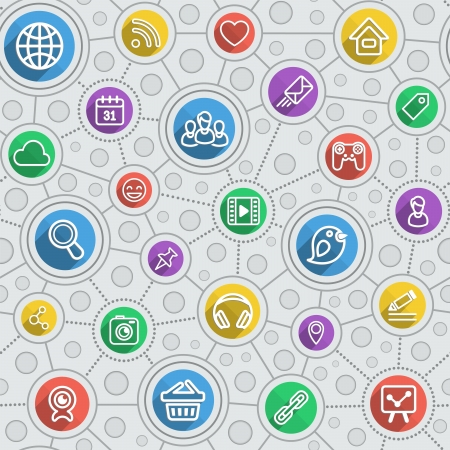 Seamless pattern of social networking icons in long shadows outline flat style Vector