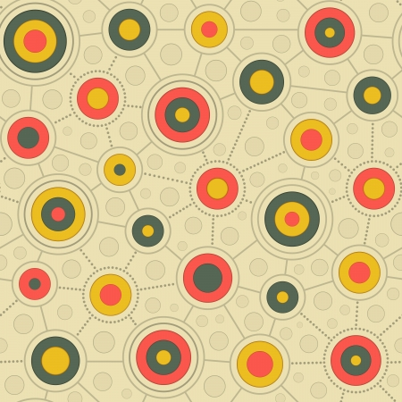 clipped: Seamless pattern of multicolored circles connected by lines and dots in retro colors