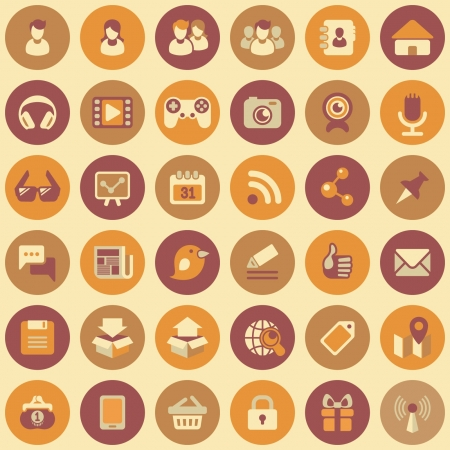 Set of 36 round flat web icons of social networking and multimedia  in retro colors
