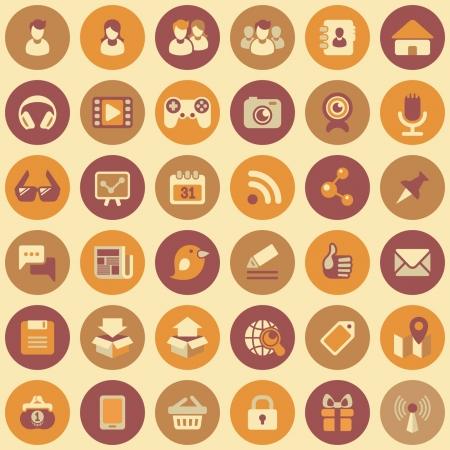 social networking: Set di 36 piatti tondi icone web di social networking e multimedia in colori retr� Vettoriali