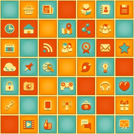 seamless square pattern of social networking icons in retro colors Vector