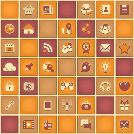 Seamless square pattern of social networking signs in bright retro colors  Vector