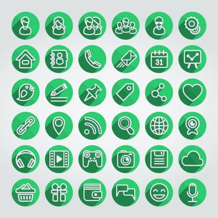Set of 36 green round web icons of social networking and multimedia in the long shadows flat outline style Illustration
