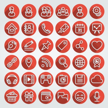 Set of 36 red round web icons of social networking and multimedia in the long shadows flat outline style Illustration